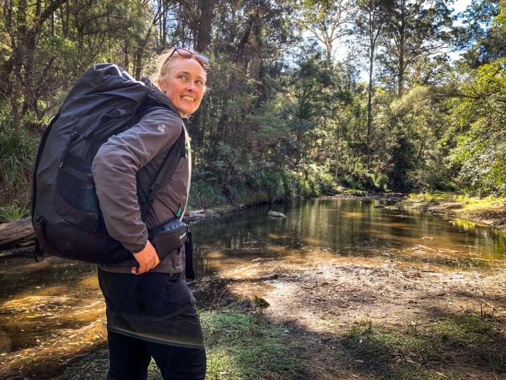 Female hiker with rhyolite backpack